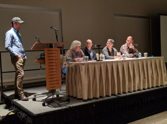 Mark Root-Wiley and four panelists at WordCamp Seattle 2016.