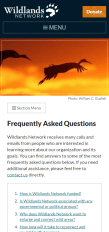 FAQ page on small screen