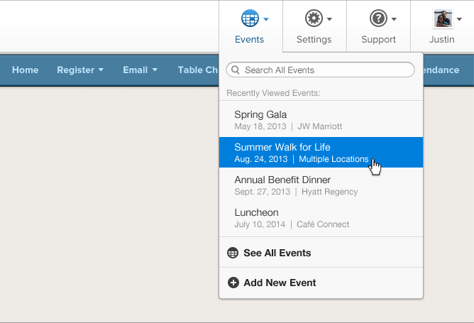 An example of the powerful new navigation bar for you to quickly access your events.