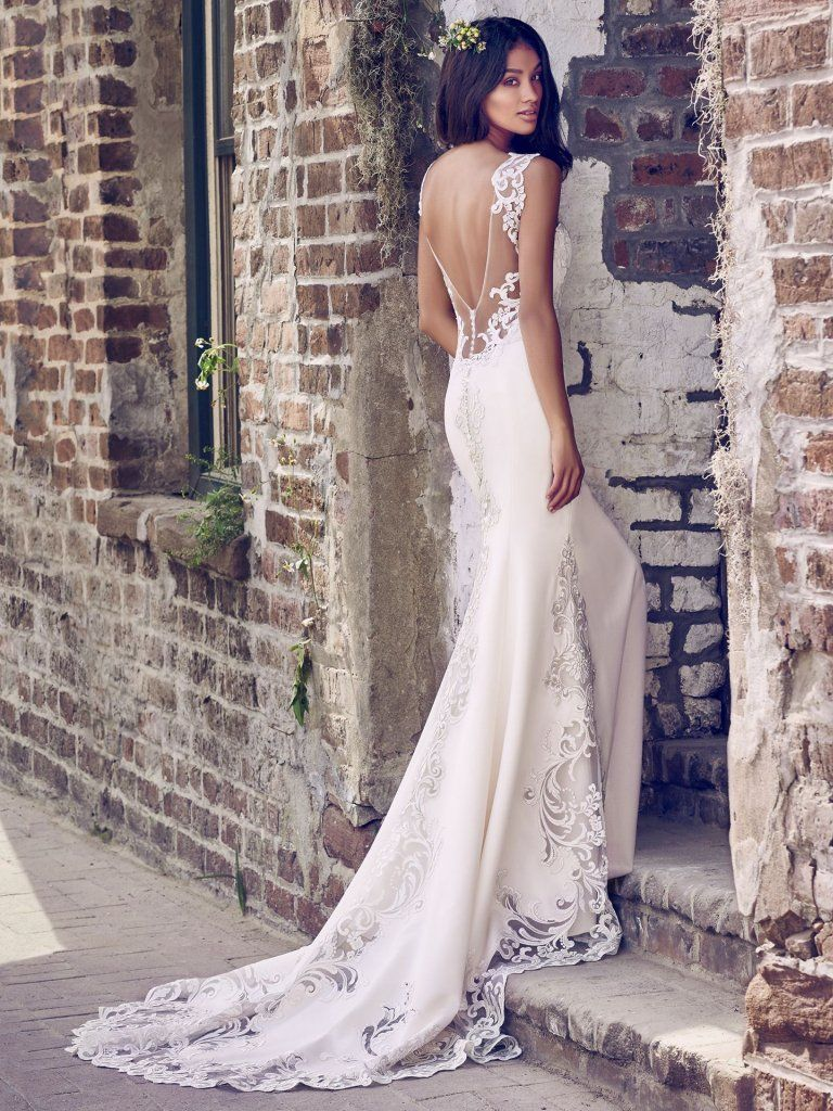 Veronica 8MC469 Simple Crepe Wedding Dress by Maggie Sottero