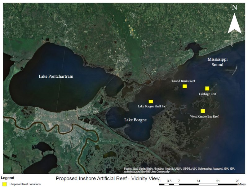This map shows the four proposed artificial reef sites currently being considered by the U.S. Army Corps of Engineers. If the permit for the reefs is ultimately approved, Ashley Ferguson with the LDWF expects construction of the sites to begin later this spring.