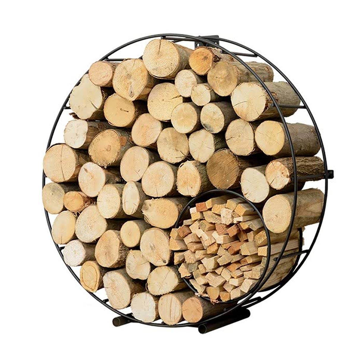 circular wire log kindling holder stand