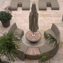 Oasis Outdoor Curved Modular Seating Worm