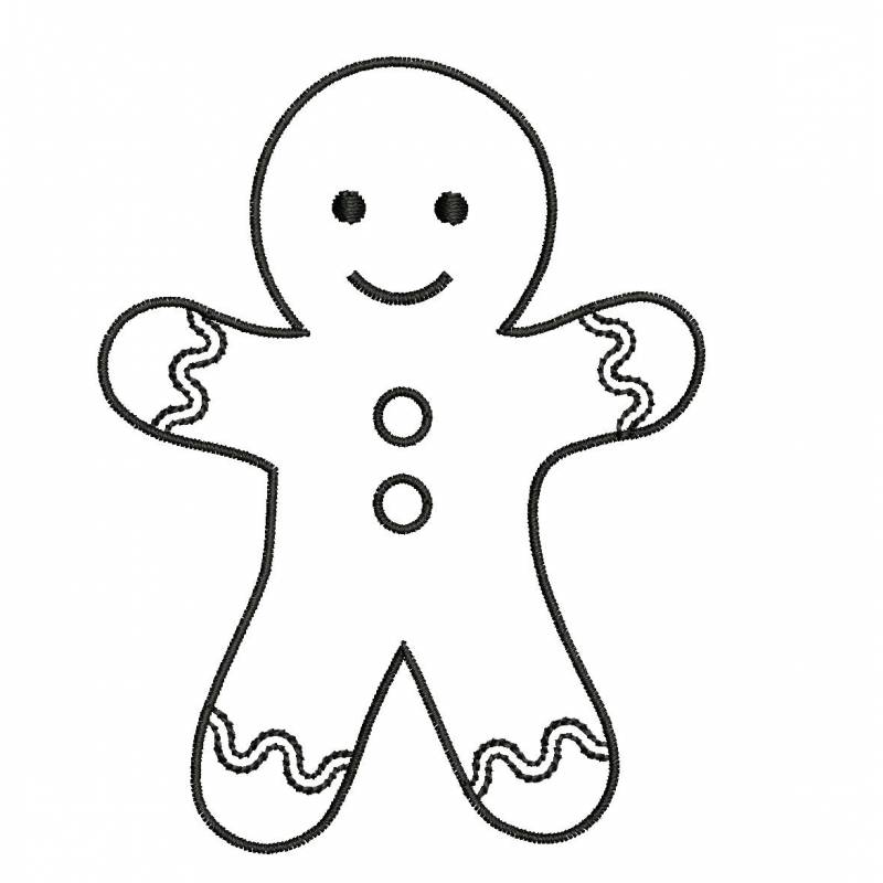Gingerbread Man Machine Embroidery Outline