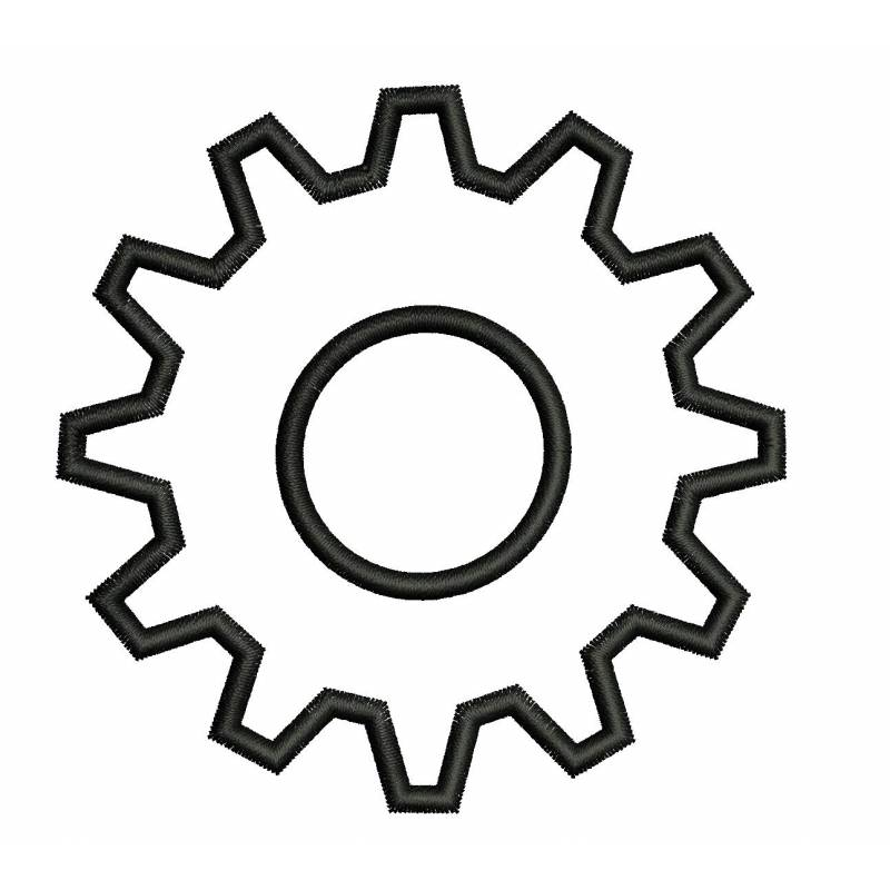 Gear Tool Embroidery Outline Design