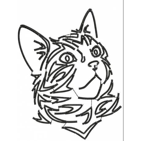 Cat Tribal Stain Embroidery Design,cat embroidery,animal