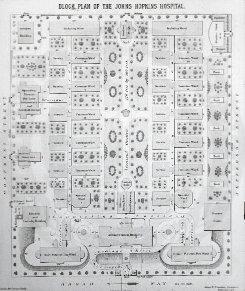 Johns Hopkins Hospital, Baltimore : Block Plan Of The Johns Hopkins Hospital / John R. Niernseé, Architect. Images from the History of Medicine Collection, Order No. A01875. National Library of Medicine, History of Medicine Division