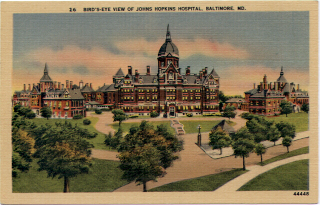 Bird's-Eye View of Johns Hopkins Hospital, Baltimore, Md. Private collection.