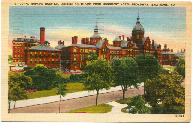 Johns Hopkins Hospital Looking Southeast from Monument, North Broadway, Baltimore, Md. Private collection.