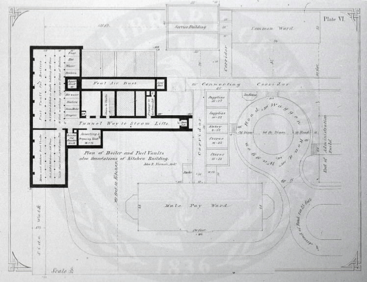 Johns Hopkins Hospital, Baltimore :[Floor plans of kitchen building] /John R. Niernseé, Architect. Images from the History of Medicine Collection, Order No. A01880. National Library of Medicine, History of Medicine Division