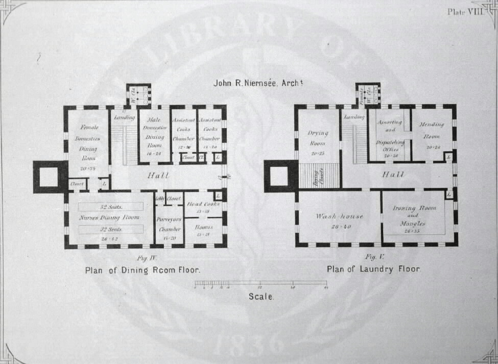 Johns Hopkins Hospital, Baltimore :[Floor plans of kitchen building] /John R. Niernseé, Architect. Images from the History of Medicine Collection, Order No. A01882. National Library of Medicine, History of Medicine Division
