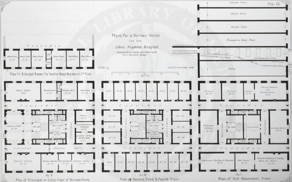 Johns Hopkins Hospital, Baltimore :[Floor plans of building for female nurses] /John R. Niernseé, Architect. Images from the History of Medicine Collection, Order No. A01883. National Library of Medicine, History of Medicine Division