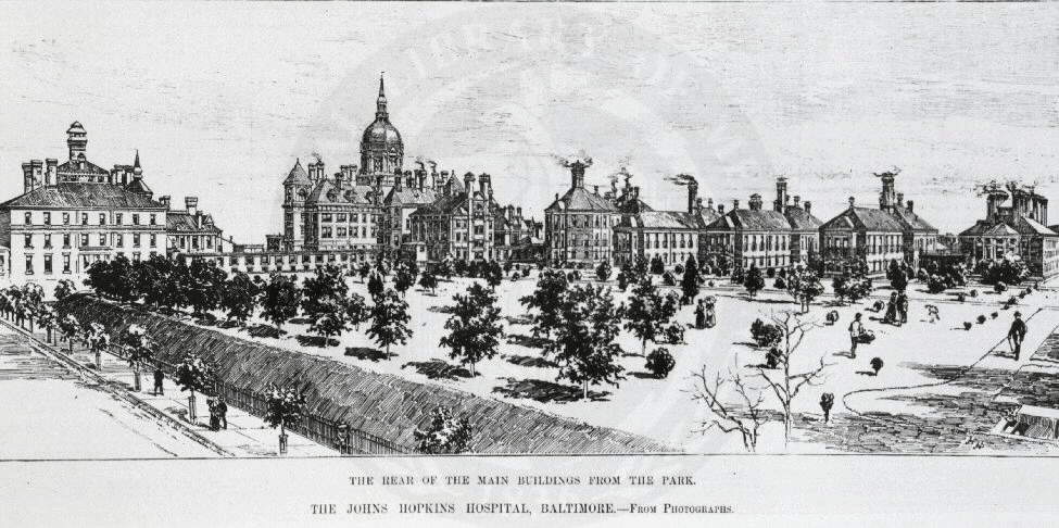 [Baltimore - Johns Hopkins Hospital]. From Harper's Weekly, September 8, 1888. Images from the History of Medicine Collection, Order No. A012896. National Library of Medicine, History of Medicine Division