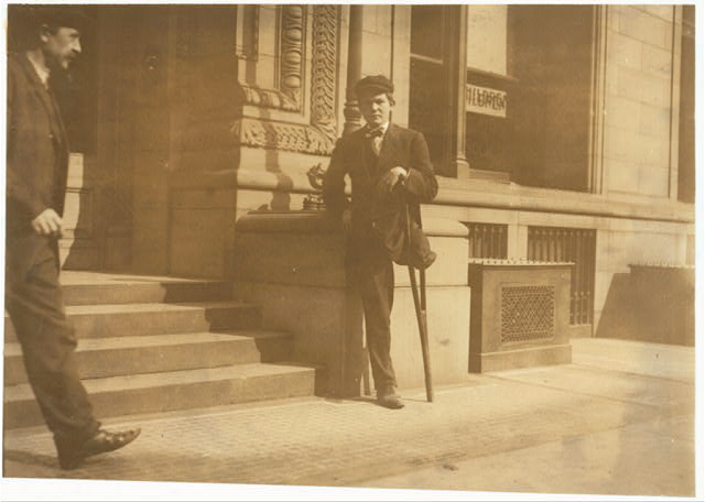 TITLE: National Child Labor Committee No. 954. 1-legged boy. Neil Gallagher, Wilkes Barre, Pa. Born January 14, 1891. Went to work at about 9 years. Worked about two years in breaker. Went inside at about 11 years.