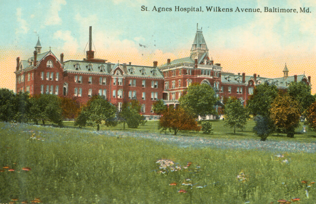St. Agnes Hospital, Wilkens Avenue, Baltimore, Md. Private collection.
