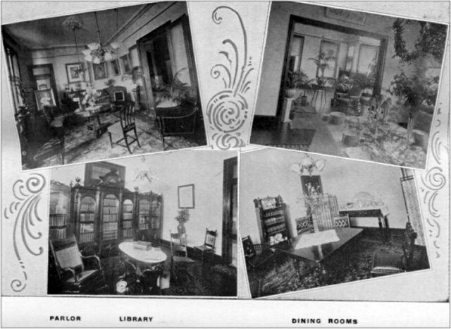 Parlor; Library; Dining Rooms.