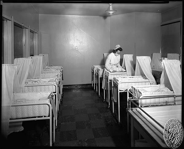 D. Stuart Webb - interiors of the Hospital for the Women of Maryland - nursery. Hughes Studio Photograph Collection, PP 30, Box 10, Folder 94. Maryland Historical Society