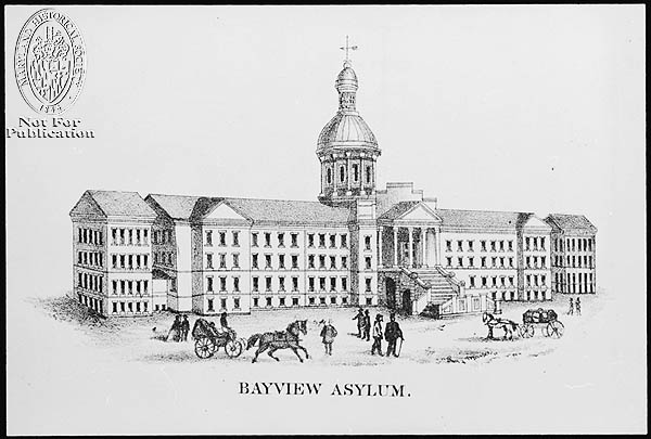 Bayview Asylum - Lithograph print (Z24.1762). Photograph Collections Cross-Section. Maryland Historical Society