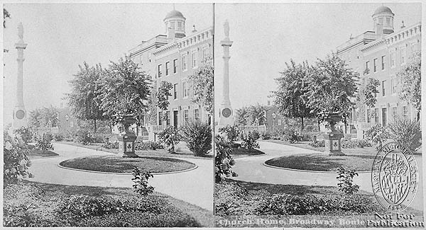 Broadway Boulevard, Church Home Hospital terrace. Stereoview Collection, PP1. Maryland Historical Society