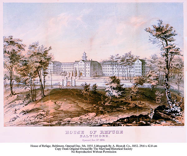 House of Refuge, Baltimore. Opened December 5th 1855. Lithography by A. Hoen & Co. From First Annual Report of the Managers of the House of Refuge, frontis. Maryland Historical Society