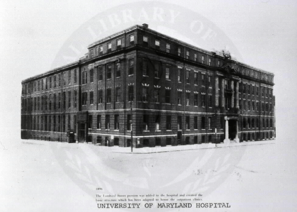 University of Maryland Hospital, Baltimore, Maryland: general view. Images from the History of Medicine Collection, Order No. A010407. National Library of Medicine, History of Medicine Division