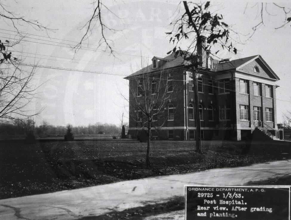 U.S. Army Station Hospital, Aberdeen Proving Grounds, Maryland. : Rear view after grading and planting.  A08898. Images from the History of Medicine Collection. National Library of Medicine