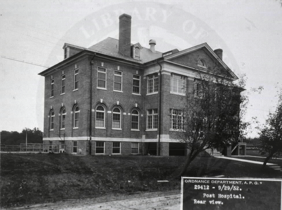 U.S. Army Station Hospital, Aberdeen Proving Grounds, Maryland. : Rear view.  A08899. Images from the History of Medicine Collection. National Library of Medicine