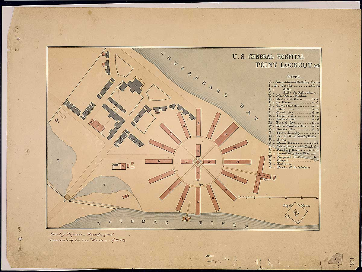 U.S. General Hospital Point Lookout, MD. RG 92: Records of the Office of the Quartermaster General, 1774-1985, ARC Identifier 305824 / Local Indentifer 92-PR-MAP57. National Archives, Washington, DC