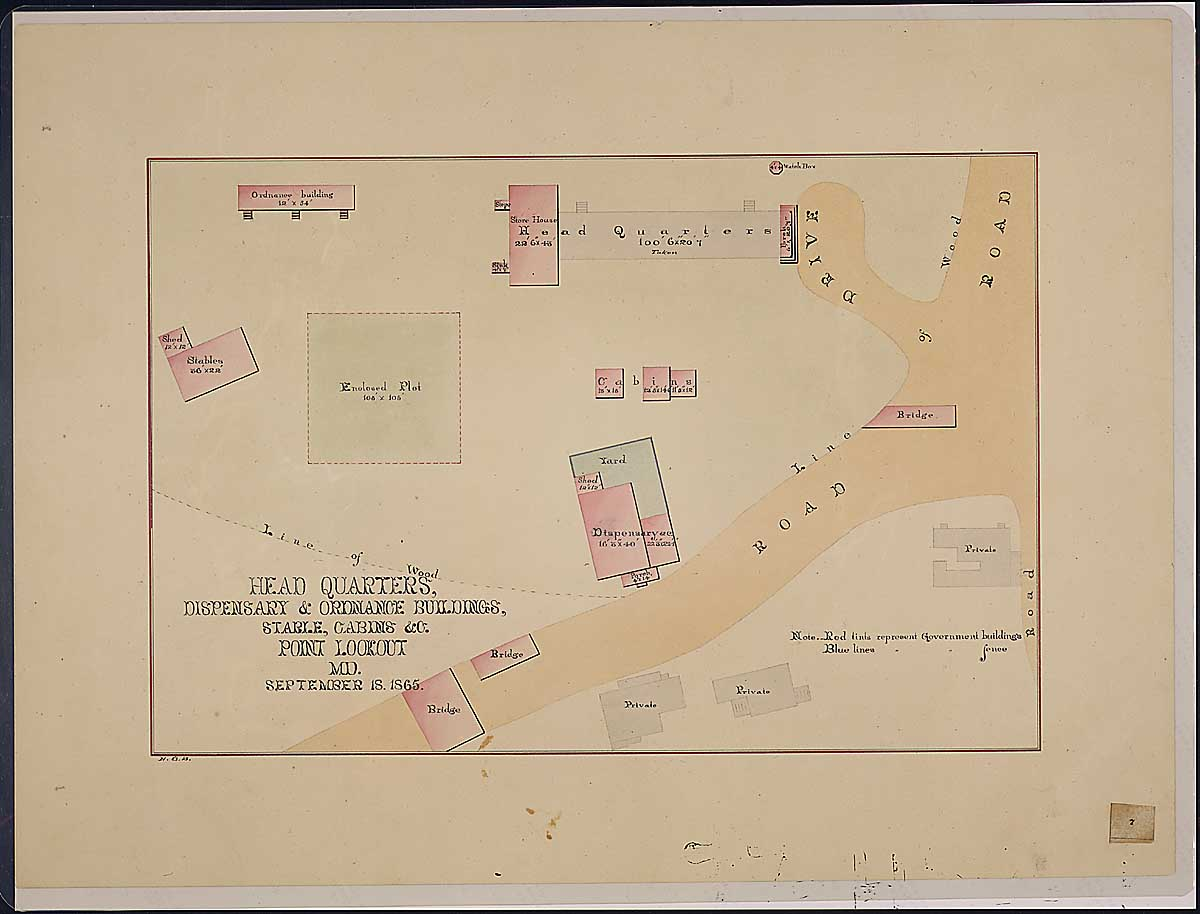 Head Quarters, Dispensary & Ordnance Buildings, Stable, Cabins & c. Point Lookout, MD. RG 92: Records of the Office of the Quartermaster General, 1774-1985, ARC Identifier 305824 / Local Indentifer 92-PR-MAP57. National Archives, Washington, DC