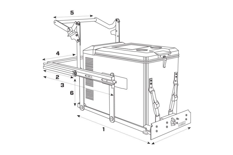 MSA 4X4 Fridge Drop Slide Outline & Dimensions