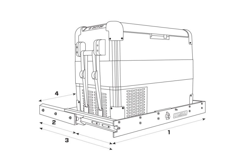 MSA 4X4 Fridge Side Straight Slide Outline & Dimensions
