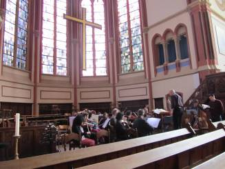 On our arrival at the Marktkirche on Saturday morning, the Rhineland Philharmonie orchestra wwre already busy rehearsing with some of our own youth musicians.