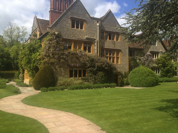"""View of the """"new"""" part of Le Manoir from the garden"""