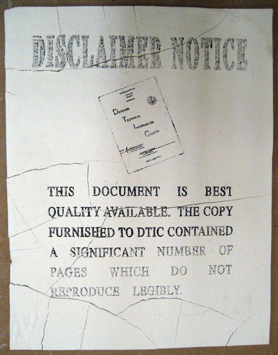 I loved this disclaimer page--especially in the context of the additional loss of information when I re-print it again