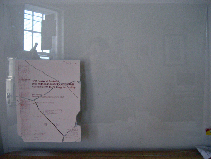 The same test piece, mounted to a sheet of glass... I broke the tile through my own careless mishandling...