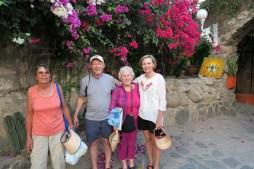 Mariam, Jim, Carol, Debbie in front of hotel El Fuerte