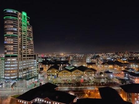 Night sky Leeds hotel view