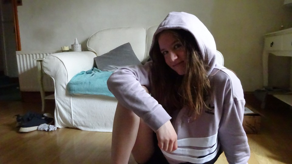 Me in an Adidas Cropped Hoodie that my parents got me for my birthday.