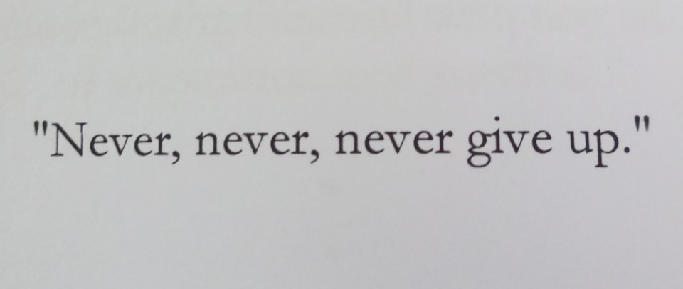 Winston Churchill Quote on Not giving up
