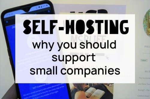 Caption of 'Self-Hosting, why you should support small companies' with a phone showing SetraHost.