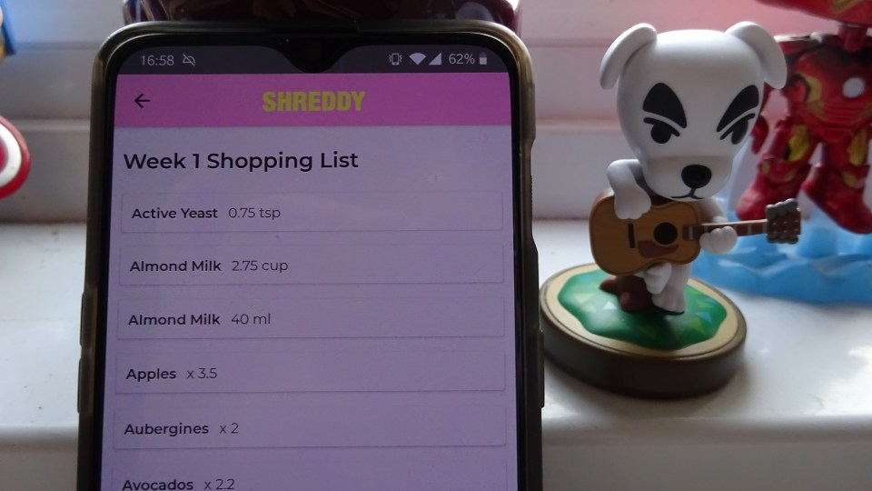 Showing the shopping list for Week 1's meal prep for the SHREDDY app review.