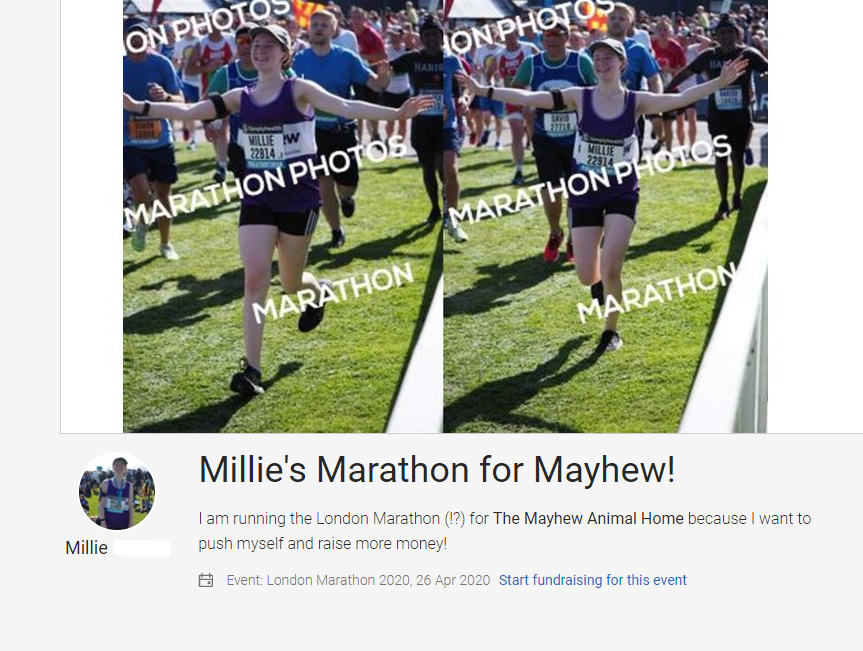 screenshot of my marthon justgiving page for my fundraising for mayhew.
