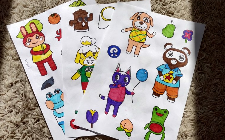My finished colouring of Chloe's Animal Crossing colouring sheets