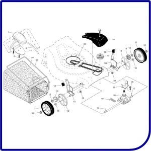 Колеса, трансмиссия, привод газонокосилки HUSQVARNA LC 153V