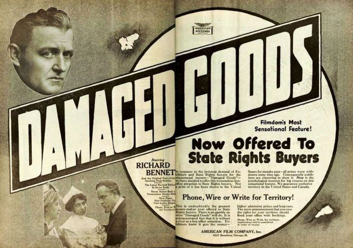 Damaged Goods Advertisement 1914
