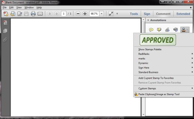 Adobe Reader - Stamps tool