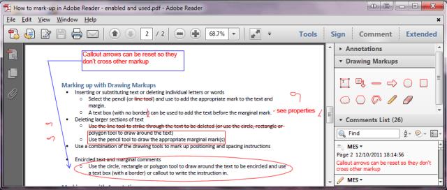 Drawing markups views in Adobe Reader.