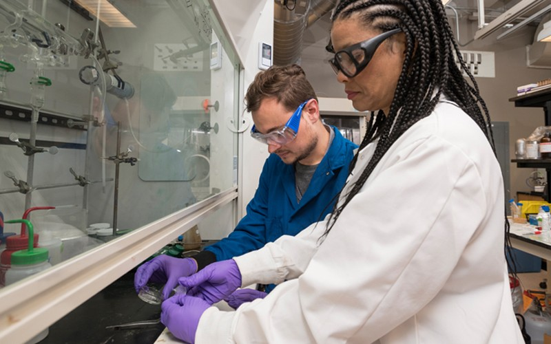 Doctoral student Chase Thompson (left) is mentored by Prof. LaShanda Korley.