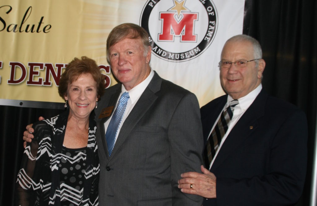 Wallace McMillan (right) and his wife, Sarah, with Mike Dennis at his induction into the Mississippi Sports Hall of Fame. (Photo courtesy of Sara Running)