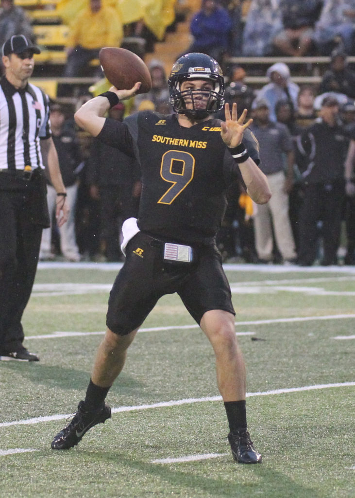 Nick Mullens has thrown for 30 touchdowns, trying USM's all-time season record.